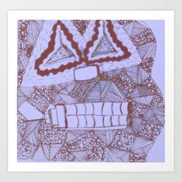 Mask #4: Repressed (Blue) Art Print
