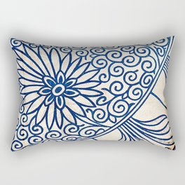 Blue Oriental Vintage Tile 01 Rectangular Pillow