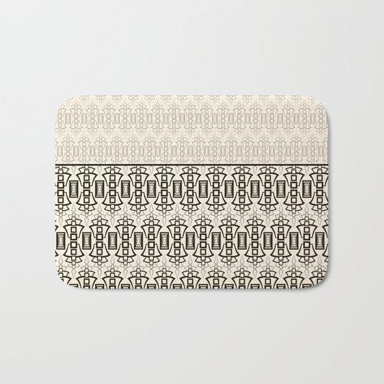 Art Deco . Black and beige combination pattern . Bath Mat