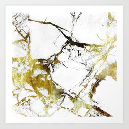 Gold-White Marble Impress Art Print