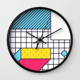 Festive Background in Neo Memphis Style Colorful Decorative pattern Wall Clock