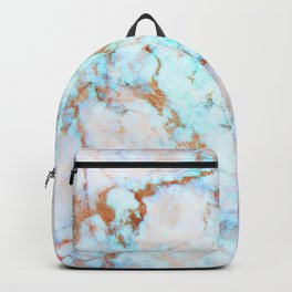 White faux marble blue and rose-gold accents Backpack