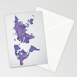 Purple World Map 02 Stationery Cards
