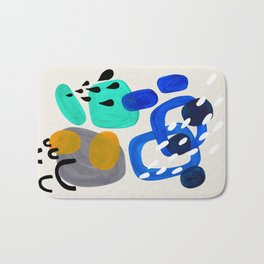 Fun Abstract Minimalist Mid Century Modern Colorful Shapes Marine Green Grey Yellow Harmony Bath Mat
