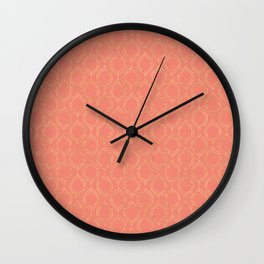 Coral And Gold Moroccan Chic Pattern Wall Clock
