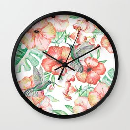 Hummingbirds + Hibiscus Wall Clock