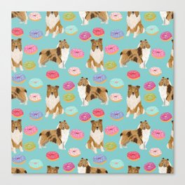 Rough Collie dog breed donut lover pet portrait custom design for dog lover by pet friendly Canvas Print