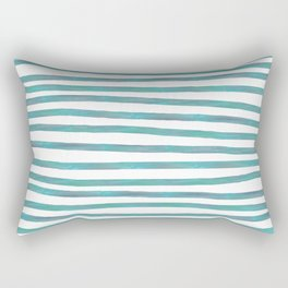 Ocean Green Hand-painted Stripes Rectangular Pillow