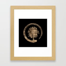 Enso Zen Circle and Tree - Gold on black Framed Art Print