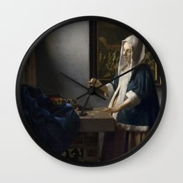 Woman Holding a Balance Wall Clock