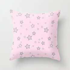 Grey little stars on pink background Throw Pillow
