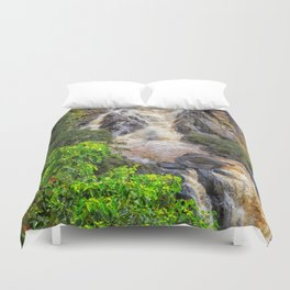 Waterfall in the rainforest Duvet Cover
