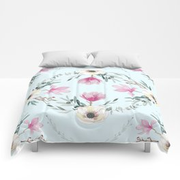 Floral Square Acqua Comforters