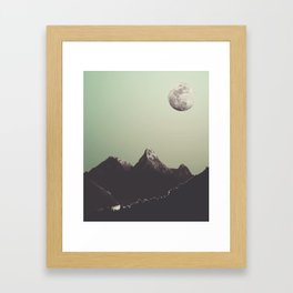 Moon & mountain Framed Art Print