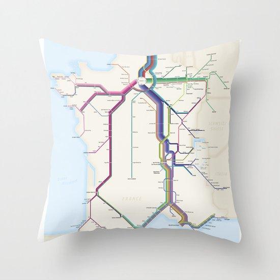 Itinéraires de train à grande vitesse de la France Throw Pillow