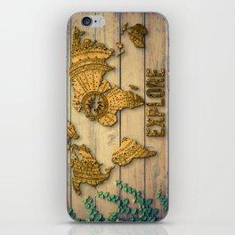 Explore Vintage World Map on Wood iPhone Skin