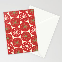 Atomic Dots Semi - Retro Midcentury Mod Christmas Pattern in Light Olive Green, Red, and Cream Stationery Cards