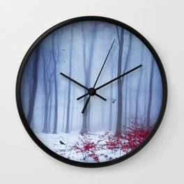 winter forest with birds Wall Clock