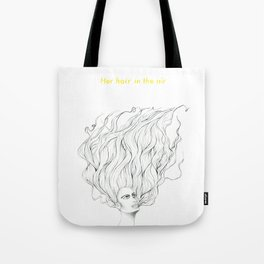 Her Hair in the Air Tote Bag