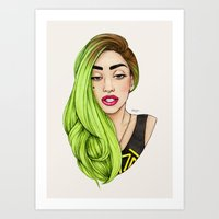 lady Art Prints featuring Lady Neon by Helen Green