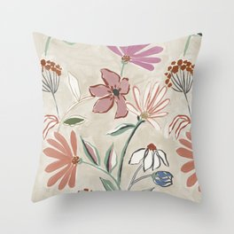 Monday Floral Throw Pillow