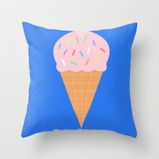 Sweet Ice cream cone with blue background Throw Pillow