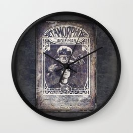 Metamorphosis by The Wolf Man: A Full Service Hair Salon (Old Metal Sign) Wall Clock