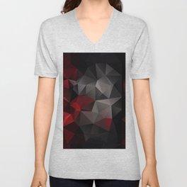 Polygon red black triangles . Unisex V-Neck