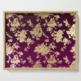 Chic faux gold burgundy ombre watercolor floral Serving Tray