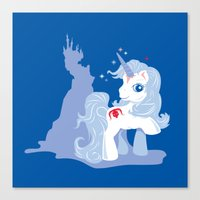 the last unicorn Canvas Prints featuring My Little Last Unicorn by Ashley Hay
