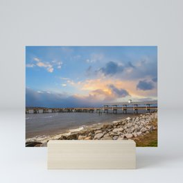 Pier and Seawall in Late Afternoon Mini Art Print