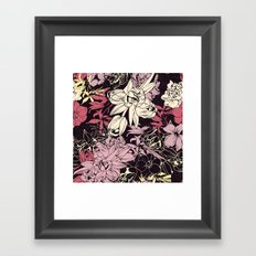 Spring flowers pattern. Narcissus, tulips and other, purple & orange. Framed Art Print