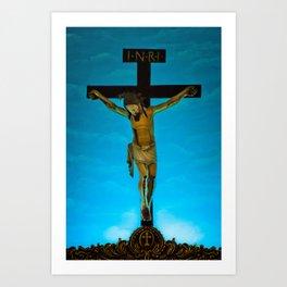 Jesus on the cross in St. Jerome's church in Goa, India Art Print