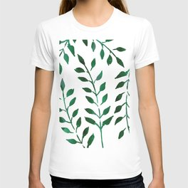 Minimalist Forest Green Leaves Watercolor T-shirt