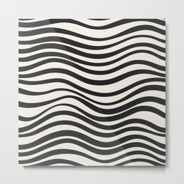 Wavy lines black and white Metal Print