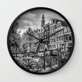 AMSTERDAM Flower Canal black & white Wall Clock