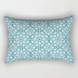 Vintage Mediterranean tiles pattern cobalt blue Rectangular Pillow