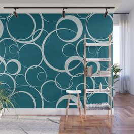 Pale Blue on Tropical Dark Teal Funky Rings Pattern Inspired by Sherwin Williams 2020 Trending Color Oceanside SW6496 Wall Mural