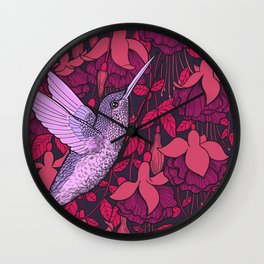 Hummingbird and fuchsia Wall Clock