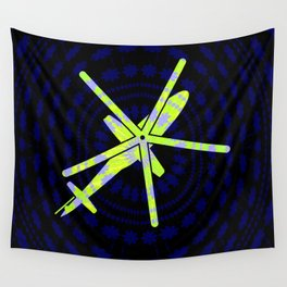 Neon Pop Helicopter Wall Tapestry