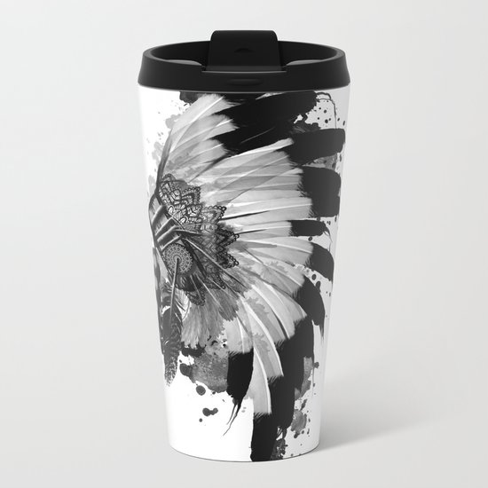 black and white headdress Metal Travel Mug