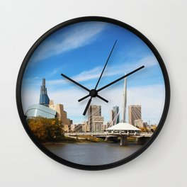 Downtown Winnipeg 2 Picture Panorama Wall Clock