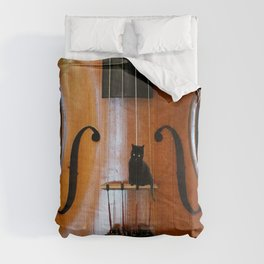 Black Cat And Violin #decor #society6 #buyart Comforters