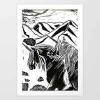 unicorns Art Prints featuring Unicorns by Lily Livingston