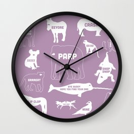 Animal Noises 2 (Lavender) Wall Clock
