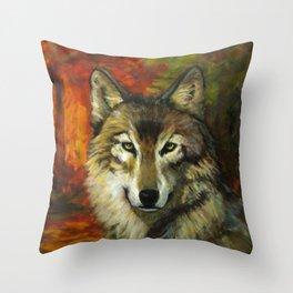 October Wolf Throw Pillow