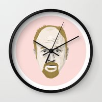 louis armstrong Wall Clocks featuring Louis by Jonas Green