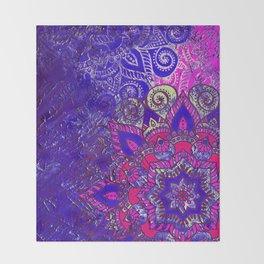 -A15- Colored Moroccan Mandala Artwork. Throw Blanket