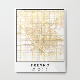 FRESNO CALIFORNIA CITY STREET MAP ART Metal Print