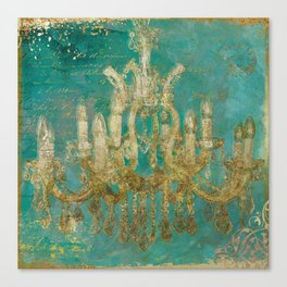 Gold and Peacock Chandelier Canvas Print